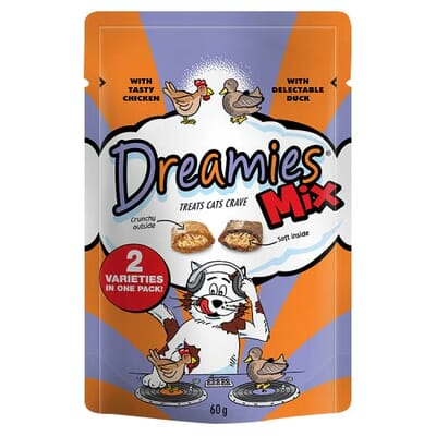 Dreamies Mix with Tasty Chicken and Delectable Duck 60g